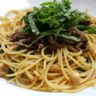 牛肉、キノコ、シソのスパゲティ